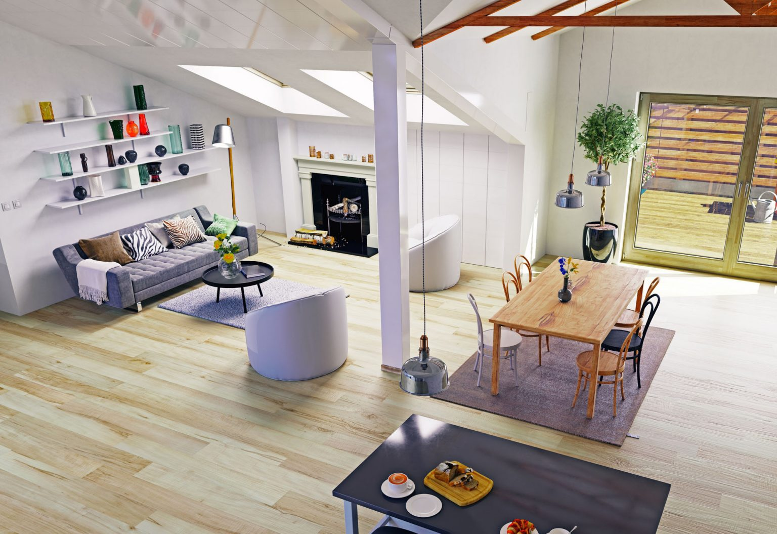 Attic floor design.3d illustration concept